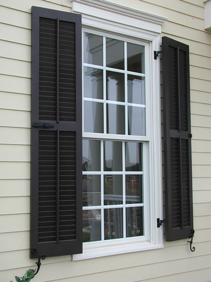 Exterior shutters 2017 grasscloth wallpaper for Exterior louvered window shutters