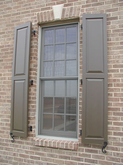 Great Raised Panel Exterior Shutters With Hardware   Brick Mount