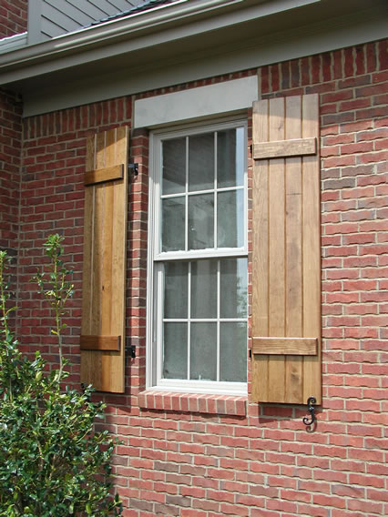 Charming Stained Board And Batten Shutters With Hardware