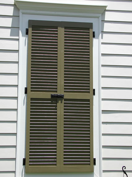 Charmant False Window With Louvered Shutter   Slide Bolt   Tie Backs