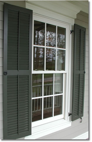 You want a custom home really laurelhouse studio for Exterior louvered window shutters