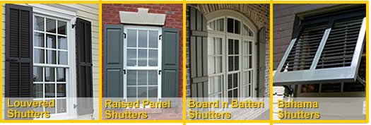 Plantation Louvered Shutters, Colonial Raised Panel Shutters, Tudor Board and Batten Shutters